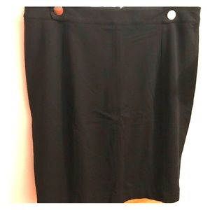 City Chic Black Pencil Skirt with Gold Buttons 20